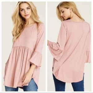 Blush 3/4 sleeve baby doll tunic w/ high low sides